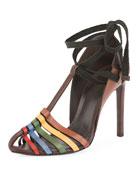 Saint Laurent Huarache Ankle-Tie Sandal