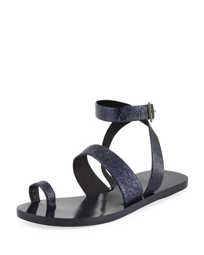 Noah Crinkled Leather Flat Sandal