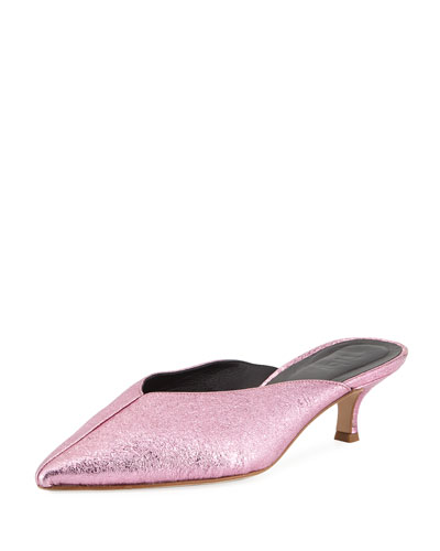 Frank Kitten-Heel Metallic Leather Mule