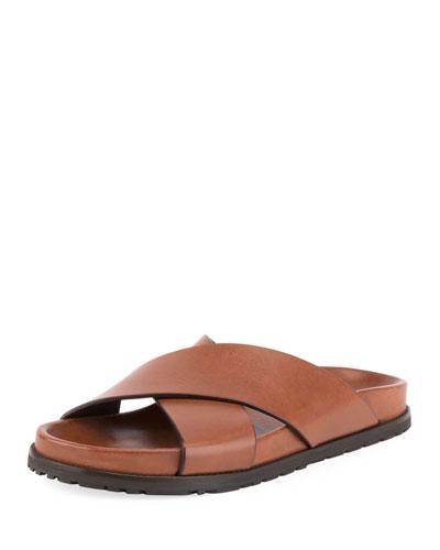 Jimmy Joan Flat Leather Slide Sandals