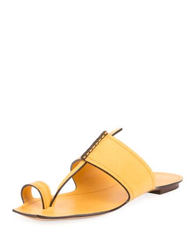Leather Toe-Ring Flat Slide Sandal