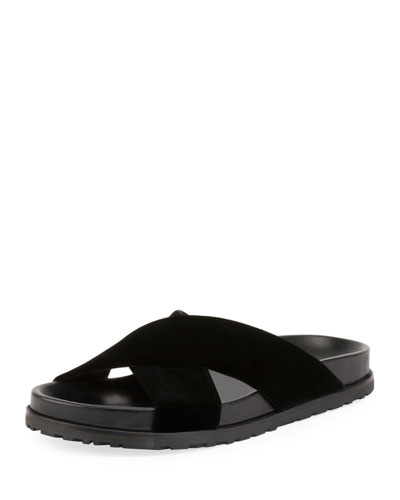 Jimmy Joan Velvet Flat Slide Sandal