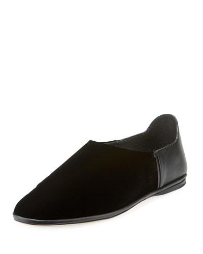 Fes Velvet And Leather Slipper Flat