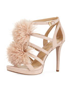 Fara Suede Feather Pouf Sandal