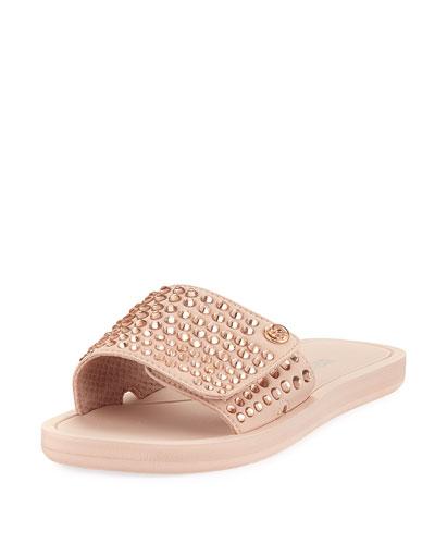 MK Embellished Fabric Slide Sandal