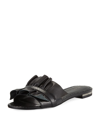 Bella Ruched Slide Flat Sandal