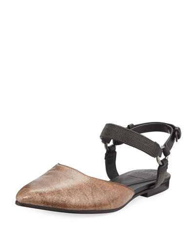 Metallic Leather Mule with Monili Ankle Strap
