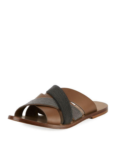 Leather and Monili Flat Slide Sandal