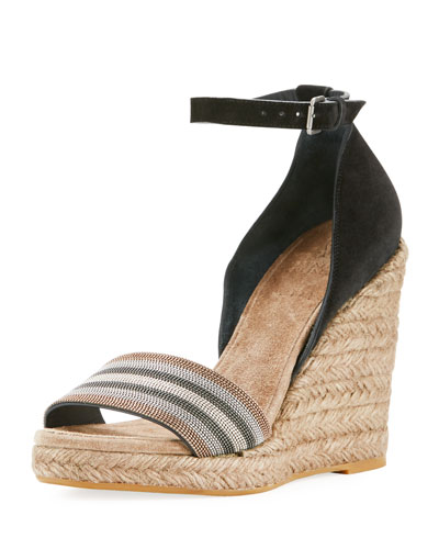 Monili-Trimmed Ankle-Strap Espadrille