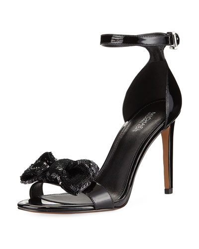 Paris Patent Sandal with Sequined Bow