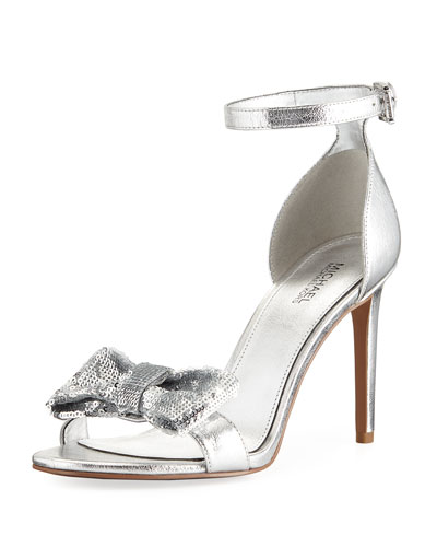 Paris Metallic Sandal with Sequined Bow