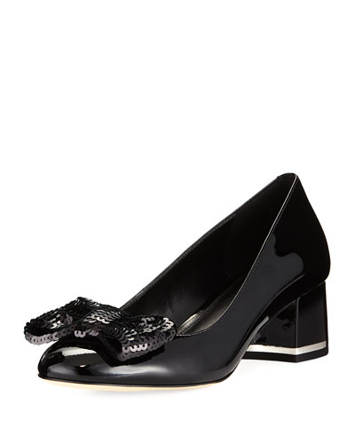 Paris Patent Mid-Heel Pump with Sequined Bow