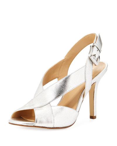Becky Metallic Leather Slingback Sandal