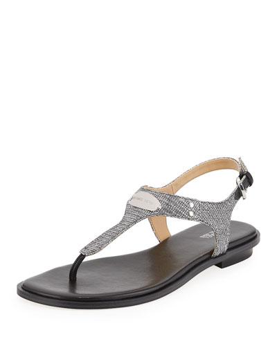 MK Plate Metallic Thong Sandal