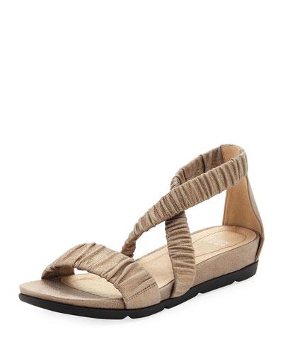 Dylan Scrunched Metallic Suede Flat Sandal