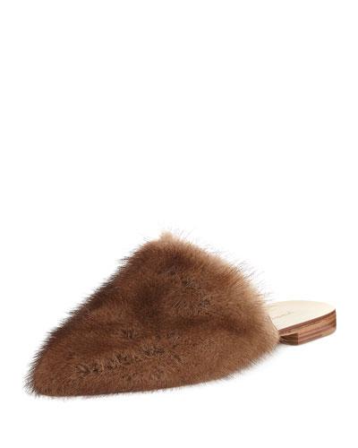 Flat Mink Fur Slide Mule, Dark Brown