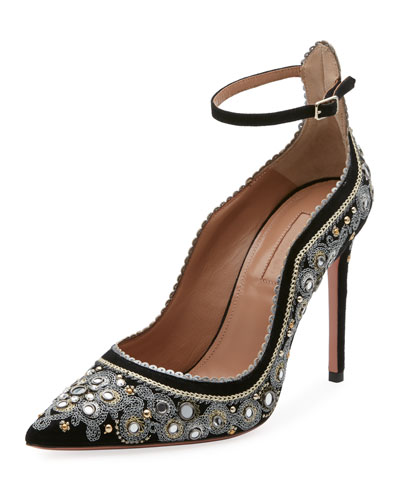 Jaipur Beaded Ankle-Wrap Pump