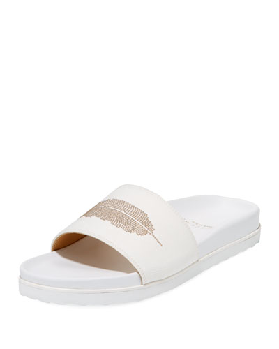 Feather Stud Slide Sandal