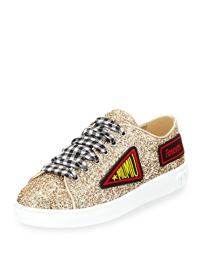 patch embroidered glittered sneakers