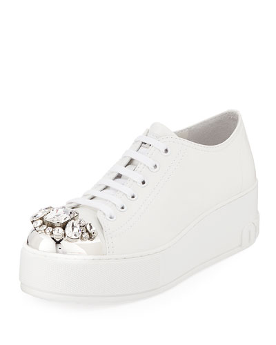 Jeweled Leather Platform Sneaker