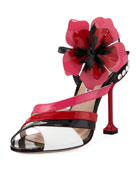 Colorblock Patent Flower Sandal