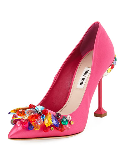 Jeweled Satin High 105mm Pump, Fuchsia