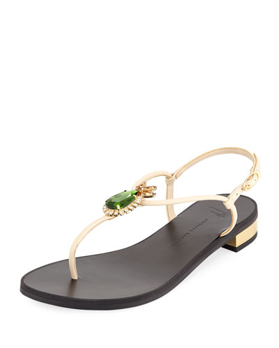 Flat Metallic Leather Thong Sandal with Pineapple Jewel