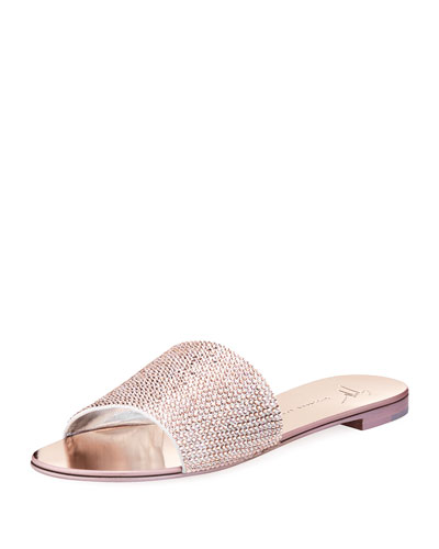 GIUSEPPE ZANOTTI Adelia Crystal-Embellished Suede And Mirrored-Leather  Slides, Rose