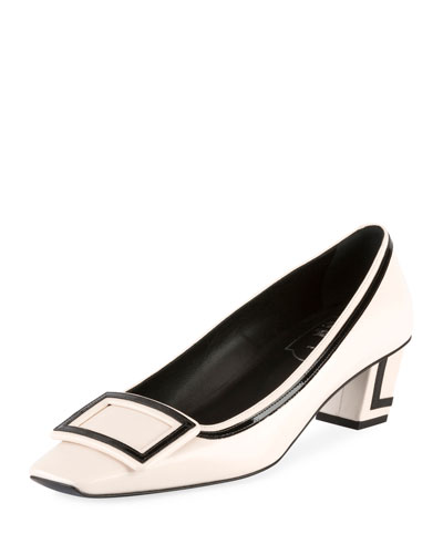 Trompette Patent-Trimmed Leather Pumps in White from Roger Vivier