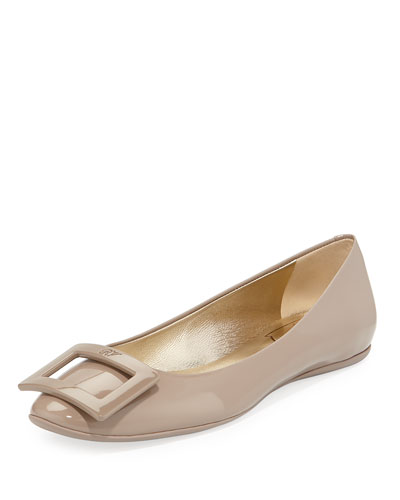 Gommette Leather Buckle Ballet Flat