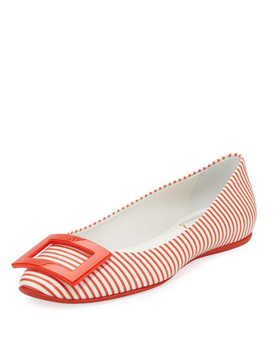 Gommette Striped Canvas Ballerina Flat, Red/White