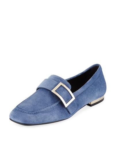 Suede Metal-Buckle Loafer, Blue