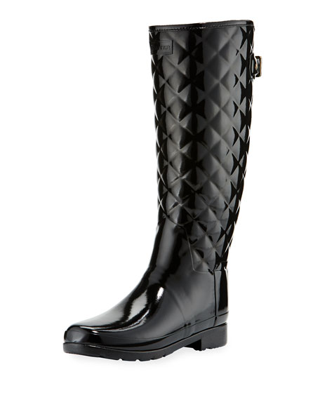 Hunter Boot Tall Gloss Quilted Rubber Boot