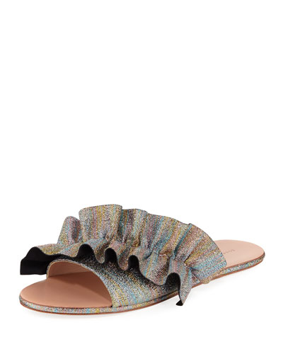 Rey Ruffled Flat Slide Sandal