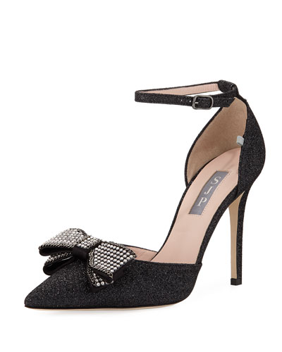 Encore Glitter Pump with Crystal Bow