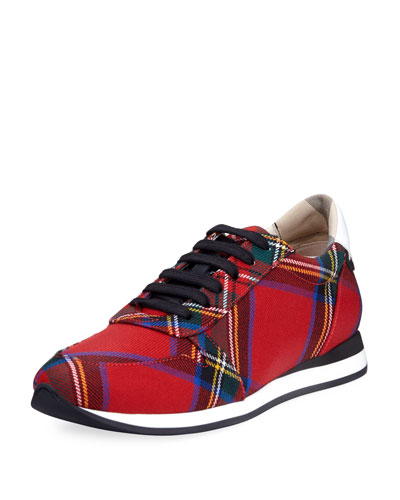Amelia Tar Tartan Trail Sneaker, Bright Red