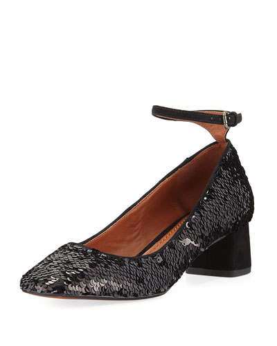 Mary Jane Sequined Ankle-Wrap Pump, Black
