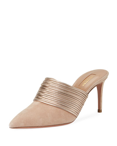 Rendez Vou Metallic-Trim Suede Slide Mule