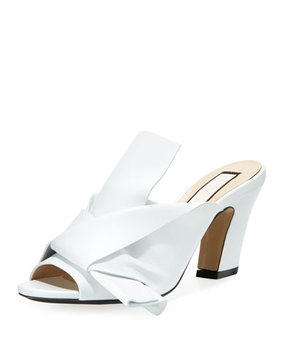 Napa Leather Chunky-Heel Mule Sandal with Bow