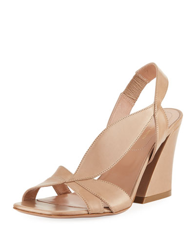 Asymmetric Napa Leather Chunky-Heel Sandal