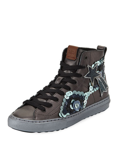 C216 Star Sequin High-Top Sneaker, Gunmetal