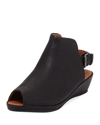 Lyla Demi-Wedge Perforated Sandal, Black