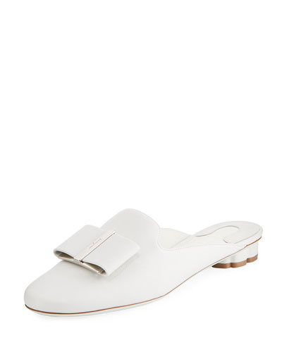 Leather Bow Slide Mule
