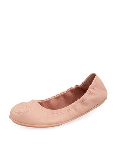 Gancio-Quilted Ballerina Flat