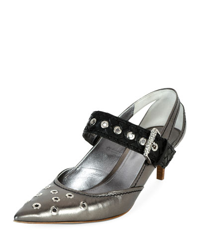 Runway Mary Jane Grommet Pump, Pewter