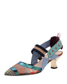 Colibri Mixed Media Slingback Kitten Heel Pump