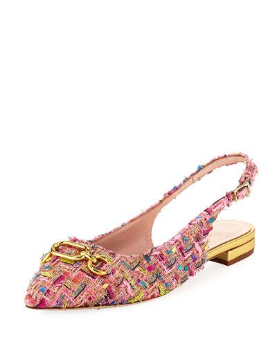 belle slingback tweed flat, pink