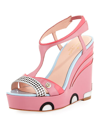 deanna car platform wedge sandal, petunia pink