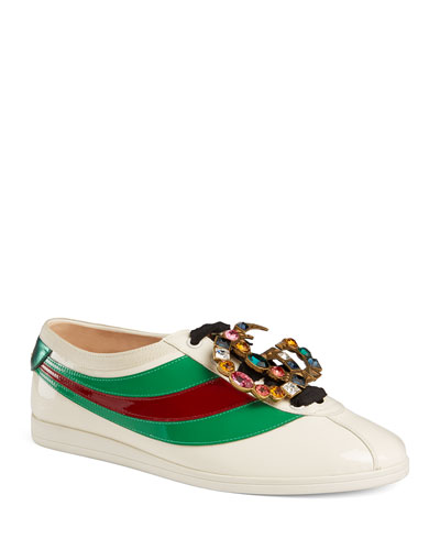 Falacer Patent Jeweled Trainer Sneaker
