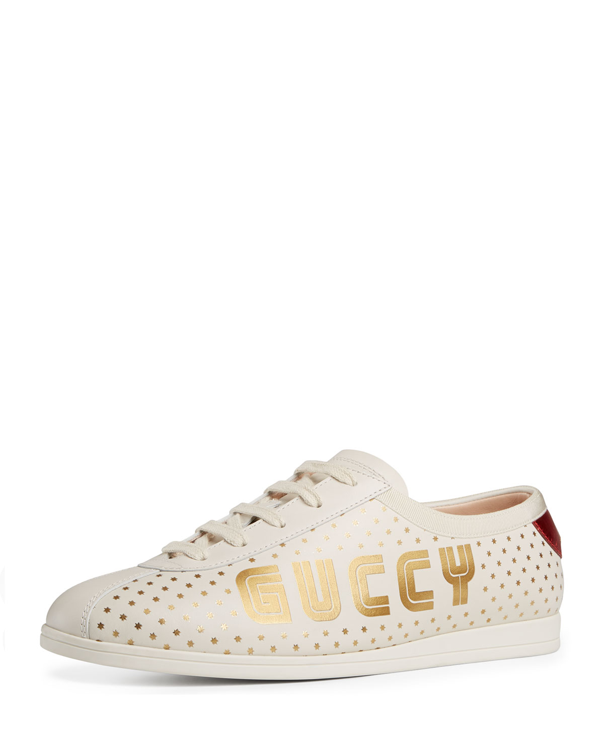Women'S Falacer Leather Print Low Top Lace Up Sneakers, White Leather